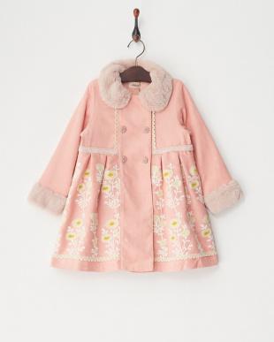 ピンク  起毛刺繍コート見る