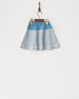 ブルー ベロアプリーツスカート見る
