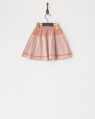 ピンク ベロアプリーツスカート見る