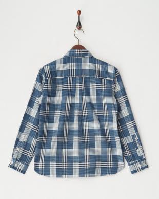 ブルー [吸汗速乾] TSチェックインチェックシャツL/S│WOMENを見る
