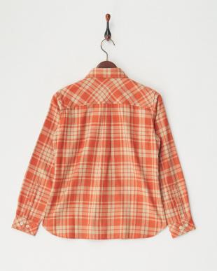 オレンジ [吸汗速乾] TSツートンチェックシャツL/S│WOMEN見る