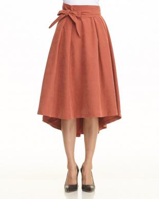 オレンジ 起毛カラーテールスカート見る
