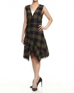 olive green pattern DICEMBRE Dress見る