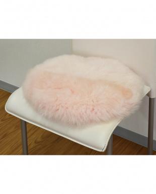 ピンク 円形長毛シートクッション 直径35cm見る