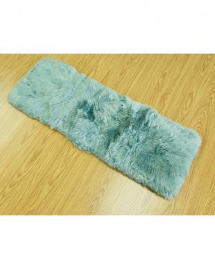 ブルー  長毛ロングシートクッション 35×105cm見る