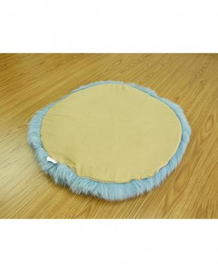 ティファニーブルー  長毛円形大判シートクッション 直径60cm見る