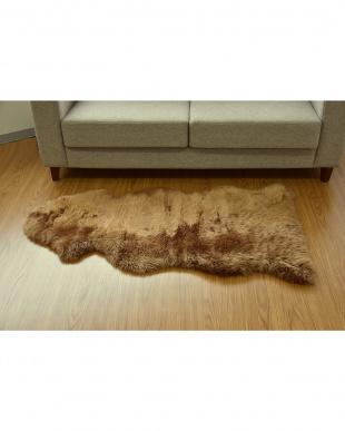 ブラウン  長毛ムートンラグ 1.5匹 60×120cm見る