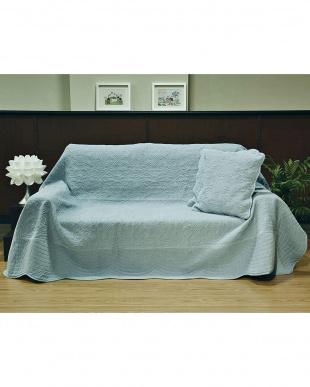 ブルー タオル素材でさらさら綿パイルマルチカバー 190×280cm見る
