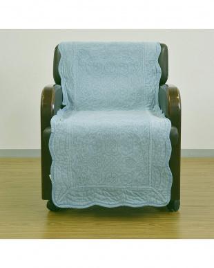 ブルー タオル素材でさらさら綿パイルソファカバー 50×150cm見る