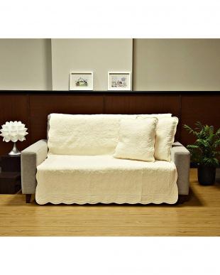 アイボリー タオル素材でさらさら綿パイルソファカバー 105×150cm見る