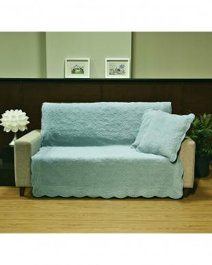 ブルー タオル素材でさらさら綿パイルソファカバー 135×150cm見る