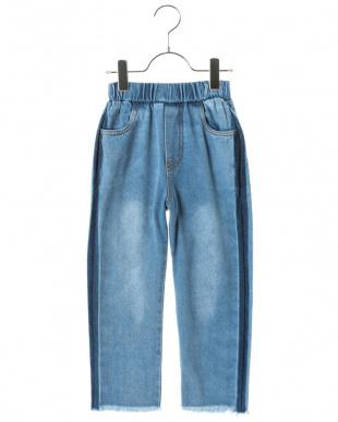 BLUE 裾フリンジ スマイルポケット テーパード デニム パンツ見る