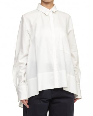 WHITE Aラインフレアシャツ見る