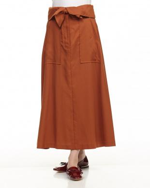 BROWN ウェストデザインフレアスカート見る