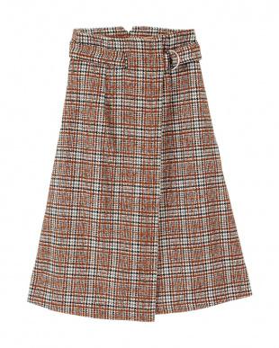 ブラウン ウエストベルトフレアスカート見る