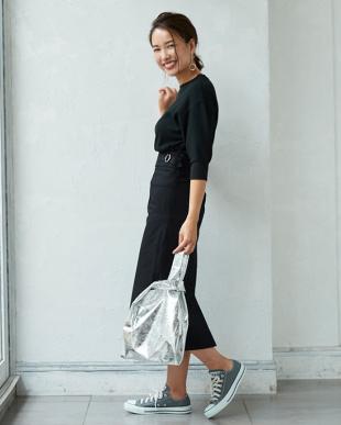 ブラック ウエストデザインタイトスカート見る
