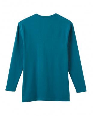 ブルーグリーン  キーネック9分袖シャツ見る