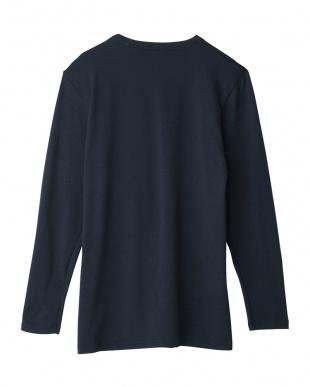 ネービーブルー Vネックロングスリーブシャツ|MEN見る