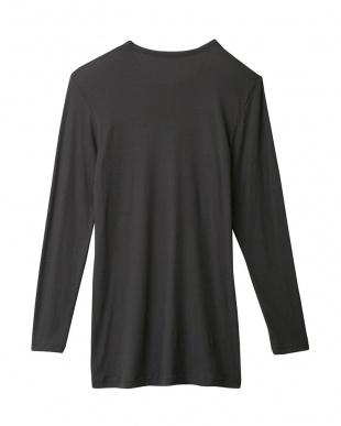 チャコールグレー  9分袖シャツ|MEN見る