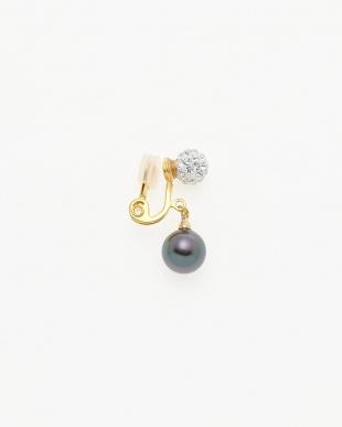 ゴールド/ブラック/クリスタル クリスタルボールトップ×大粒ブラック貝パール クリップイヤリングを見る