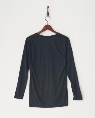 ブラック 吸湿発熱HEAT-BIZ(中厚)Vネック長袖シャツ見る