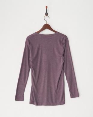 ワイン 吸湿発熱HEAT-BIZ(中厚)Vネック長袖シャツ見る