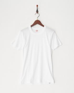 ホワイト  綿100%フライス2枚組半袖丸首シャツ見る