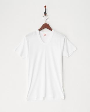 ホワイト  綿100%フライス2枚組半袖U首シャツ見る