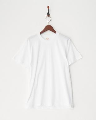 ホワイト  綿100%天竺2枚組半袖丸首シャツ見る