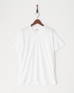 ホワイト  綿100%天竺2枚組半袖V首シャツ見る