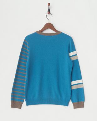 ターコイズブルー クルーネックセーター見る