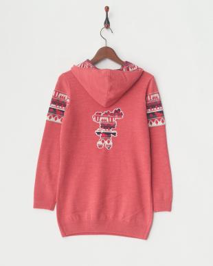 ピンク フード付セーター見る