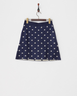 ネイビー系 スター柄 一体型蓄熱裏地パンツ付き保温ニットスカート見る
