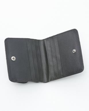 ブラック  クロコダイル&牛革クロコ型押しコンパクト財布見る