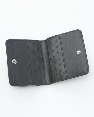 ネイビー  クロコダイル&牛革クロコ型押しコンパクト財布見る