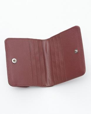 レッドワイン  クロコダイル&牛革クロコ型押しコンパクト財布見る