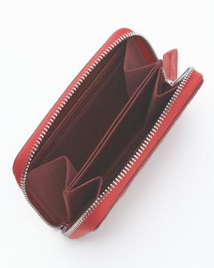 ローズレッド  クロコダイル&牛革クロコ型押しコインケース見る
