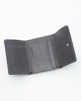 アンティークグレー クロコダイル&牛革クロコ型押しコンパクト財布見る