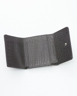 クリームバニラ  クロコダイル&牛革クロコ型押しコンパクト財布見る