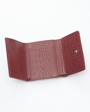 カンパリレッド クロコダイル&牛革クロコ型押しコンパクト財布見る