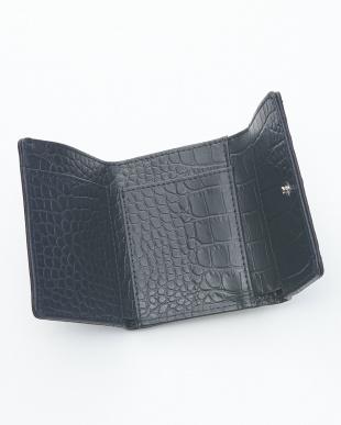 ジーンズブルー クロコダイル&牛革クロコ型押しコンパクト財布見る