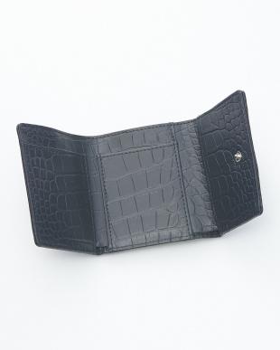 ビンテージネイビー クロコダイル&牛革クロコ型押しコンパクト財布見る