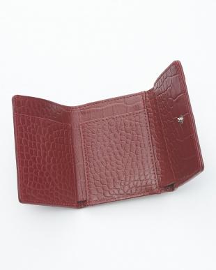 ワインブラック クロコダイル&牛革クロコ型押しコンパクト財布見る