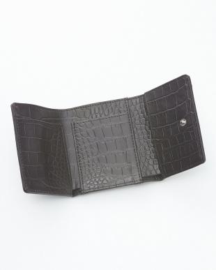 ホワイトシルバ- クロコダイル&牛革クロコ型押しコンパクト財布見る