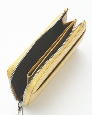 イエローゴールド  クロコダイルL字ファスナーコンパクト財布見る