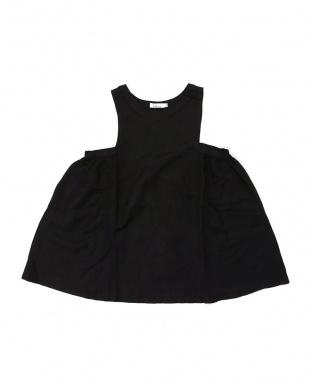 BLACK ママリンクコーデ サイドタック ジャンパースカート見る