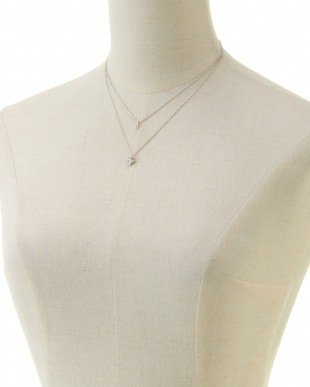 シルバー ダイヤ型ラインストーン 2連ネックレス(オリジナル巾着付)見る