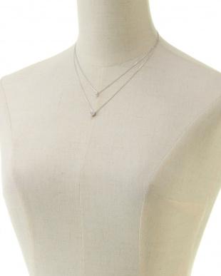 シルバー ハート型ラインストーン 2連ネックレス(オリジナル巾着付)見る