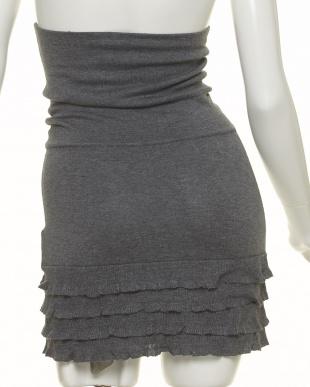 グレー杢 フリルかわいい腹巻きスカート 冷え対策見る