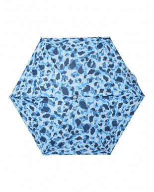 カモフラ(ブルー)  4セクションミニ 自動開閉傘見る